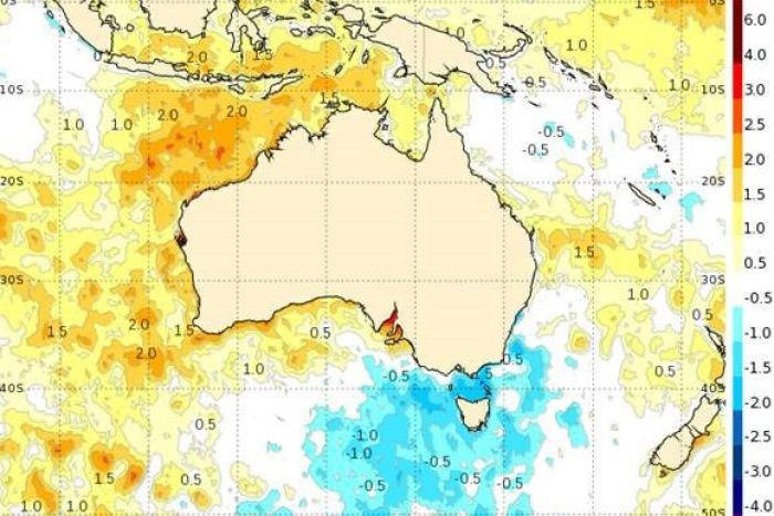 Australian waters temperature map