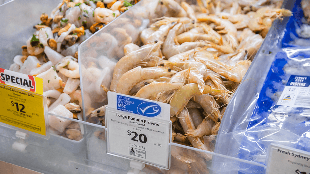 Find the blue fish tick at Coles deli counters