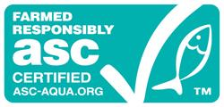 Green ASC label for responsibly farmed seafood