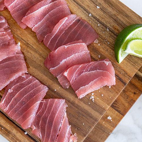 slices of yellowfin tuna