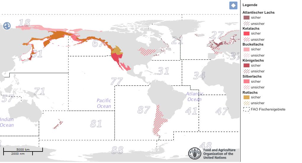 Lachs FAO Fanggebiete