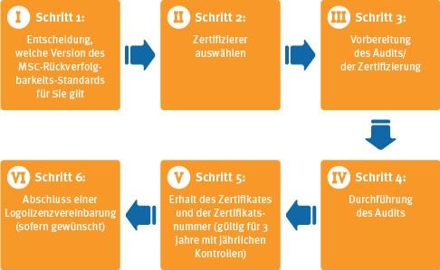 Ablauf der Zertifizierung nach dem MSC-Rückverfolgbarkeits-Standard