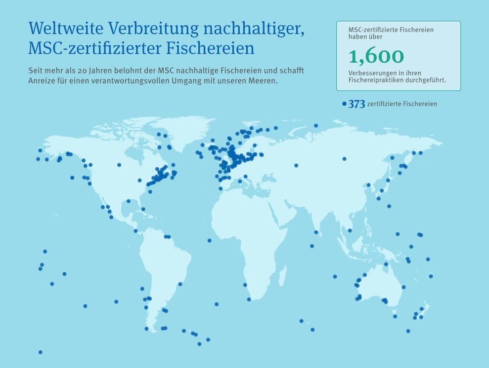 Weltkarte von MSC-zertifizierten Fischereien