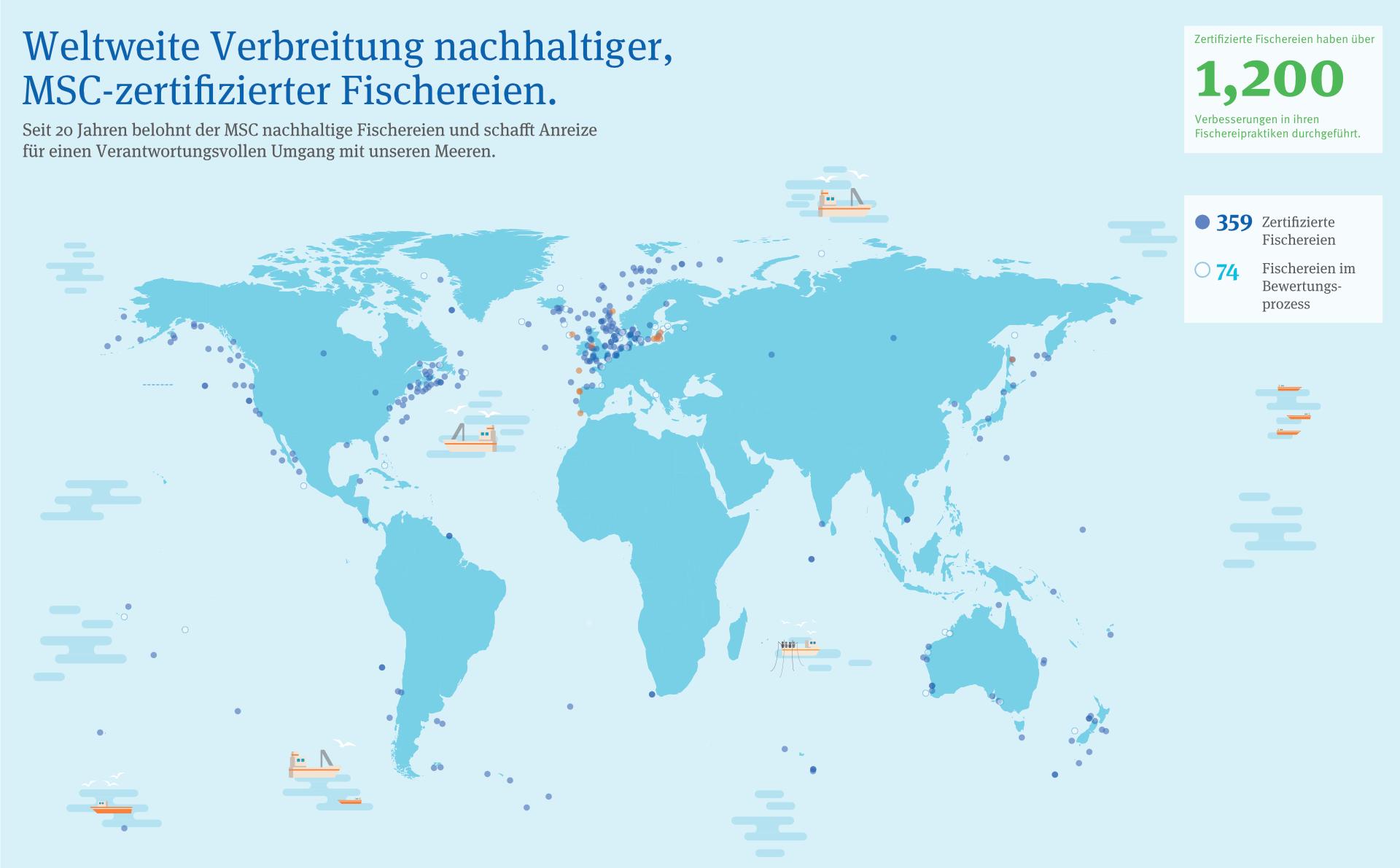 Infografik zur weltweiten Verbreitung MSC zertifizierter Fischereien (Stand April 2018)