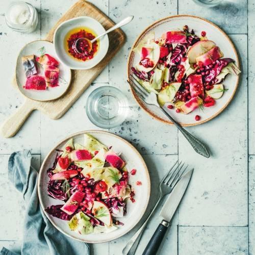 Salade de hareng fumé à la betterave façon gravlax