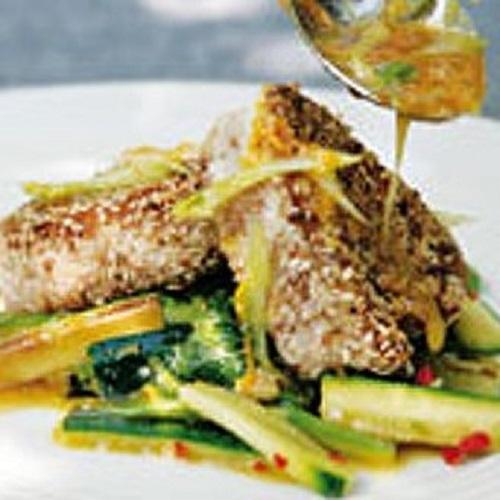 thon en croute sesame asperges courgettes