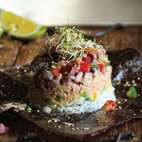 tuna stack with layered sushi