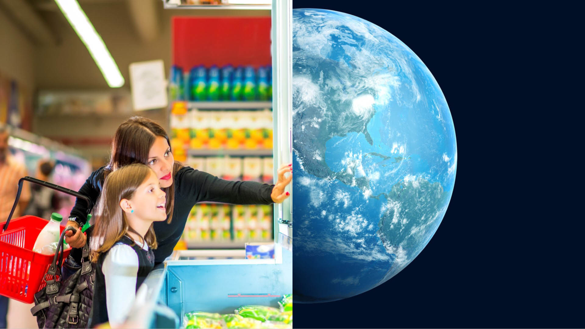 A split-screen image with a woman and young girl looking at freezer on left and the earth from space on right