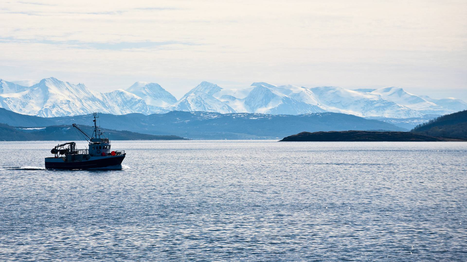 A boat in the middle of the sea with icy mountains
