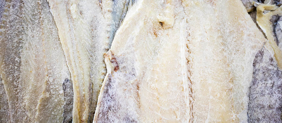 Close-up image of salted cod