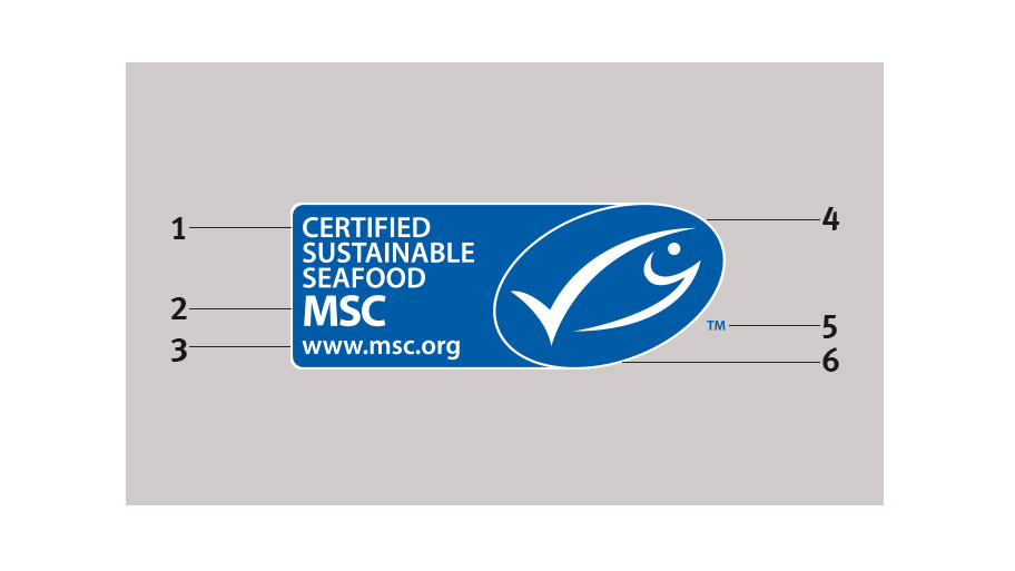 The landscape version of the MSC label on a grey coloured background