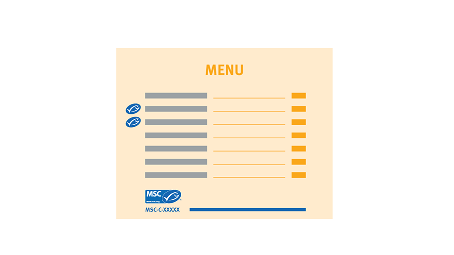 Example of menu with preferred MSC oval next to item on the menu list and MSC label as a key