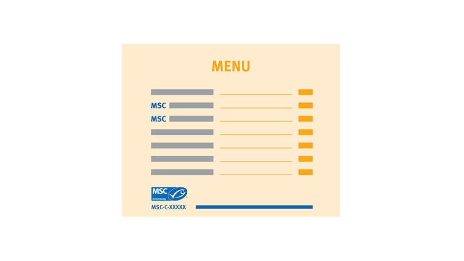 Example of menu with the initials 'MSC' identifying MSC certified dishes and MSC label as a key