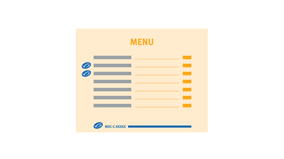 Example of menu with MSC oval next to MSC certified item on the menu and as a key