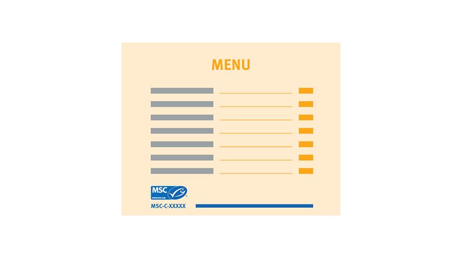 Example of menu MSC label and details of MSC certified species