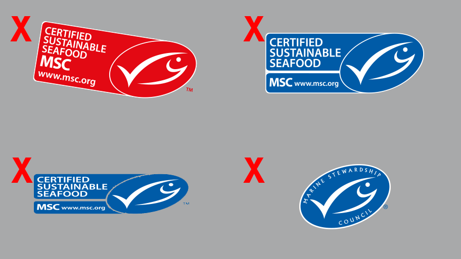 Four examples of the incorrect use of the MSC label on grey coloured background
