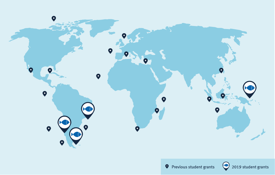 Global map of Student Research Grant awardees from the MSC.