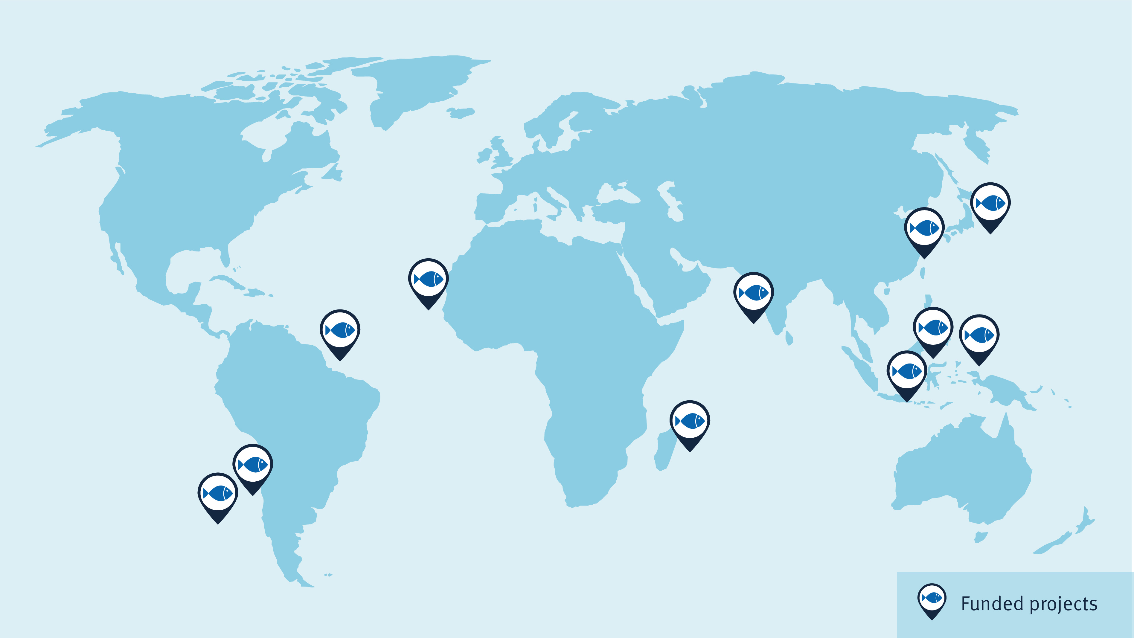 A map showing the locations of the eleven funded projects around the world. Six projects are in Asia, two in Africa and three in South America.