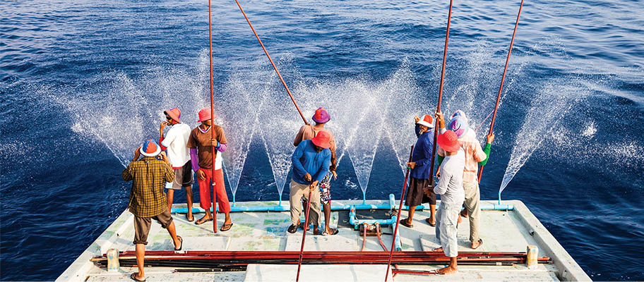 8 men in hats standing on back of a boat with poles and lines to catch tuna