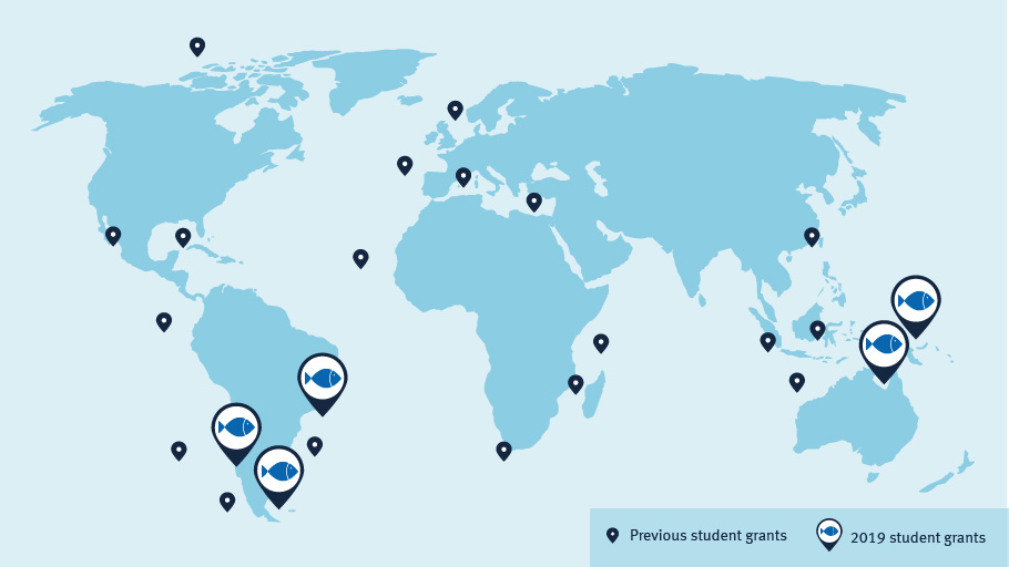 A map of the world showing the locations of the 2019 student scholarship projects are Chile, Argentina, Australia and Brazil. The 19 other previous student  project locations are also shown  around the world.