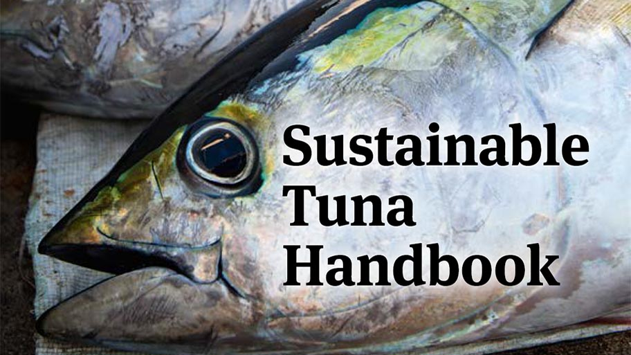 Large tuna head on blue background with text: MSC Sustainable Tuna Handbook