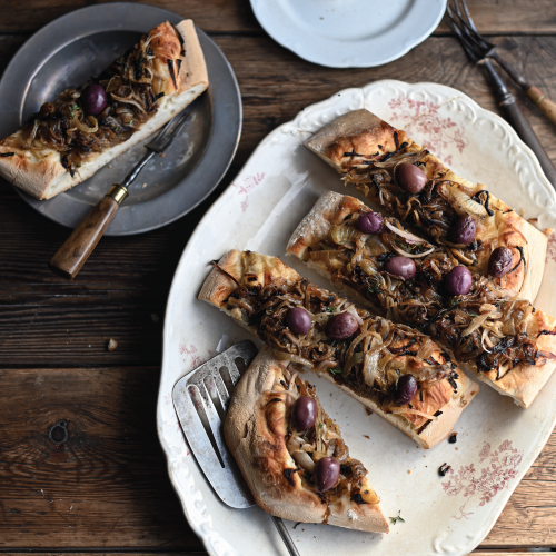Anchovy and Shallot Focaccia Meal