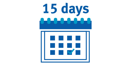 Icon of calendar showing 15 days notice period for objections