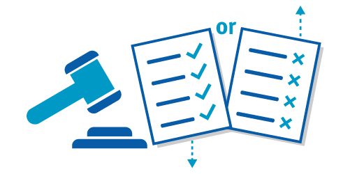 Icon illustrating independent adjudicator decision for objection notices
