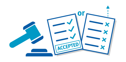 Icon illustrating independent adjudicator accepting changes in objection process