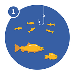 Illustration of a fish and hook