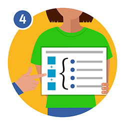 Illustration of a person holding a document