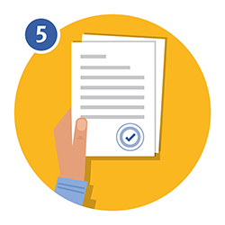 Illustration of a hand holding a document with a tick on it