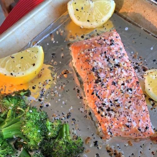 Sheet pan, everything but the bagel, salmon