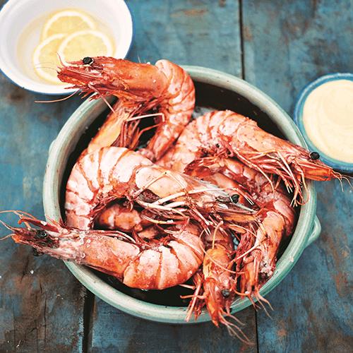 Gambas a la plancha with wild prawns