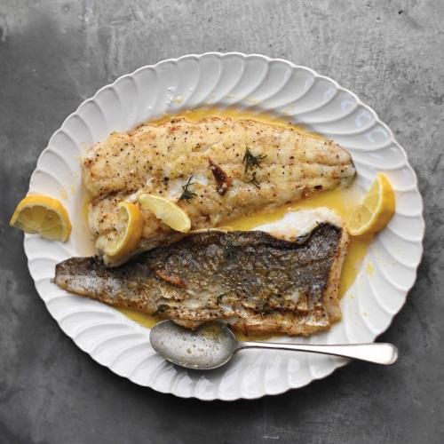 Hake fried in 'bokkom' butter