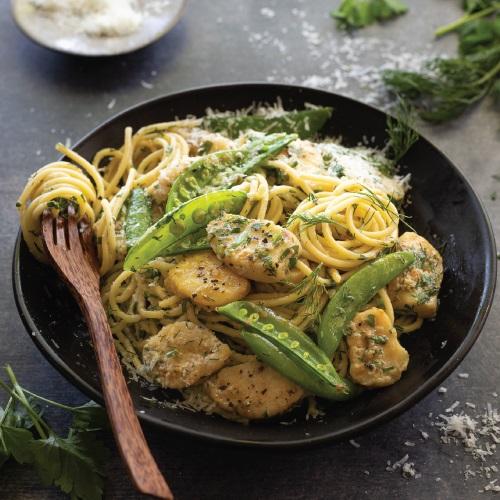 Herbed hake & spring vegetable spaghetti
