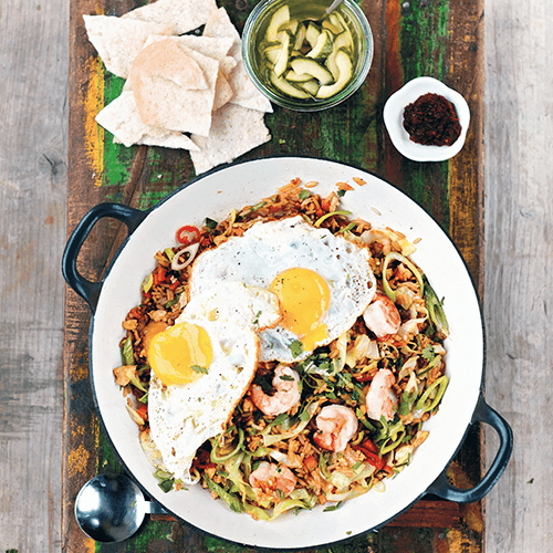 Nasi goreng with prawns