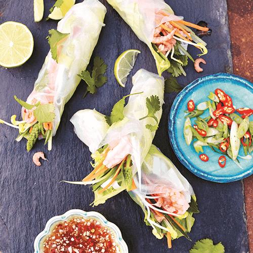 Spring rolls with wild prawns