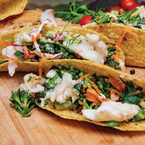 Fish and broccoli tacos