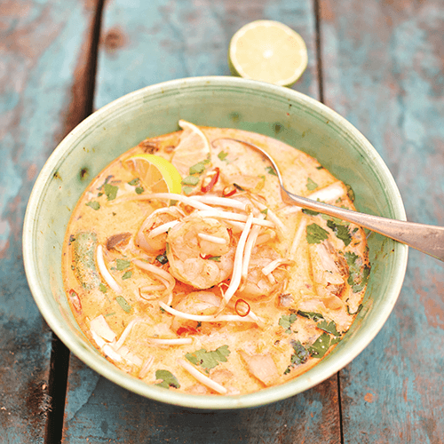 Tom Yum Kung with wild prawns and thai basil