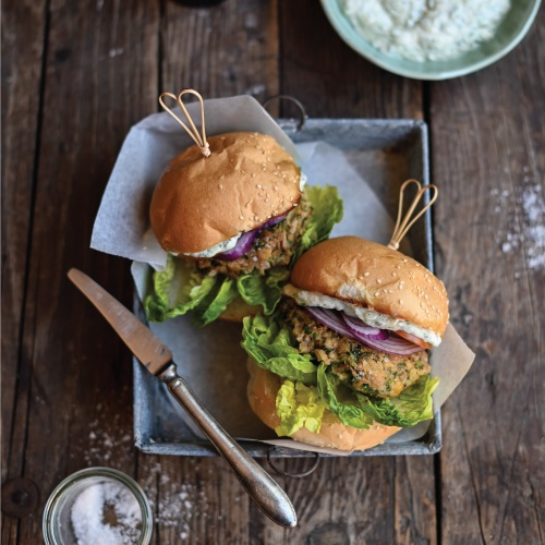 Greek Style Tuna Burgers with Tzatziki