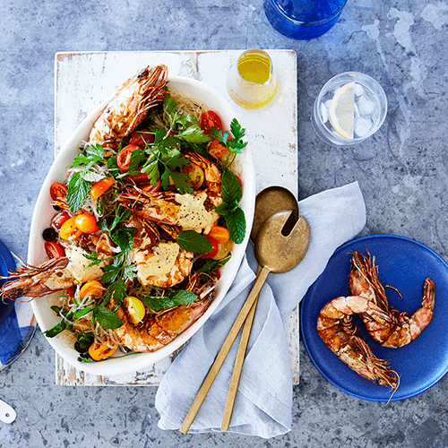 Wild tiger prawn salad