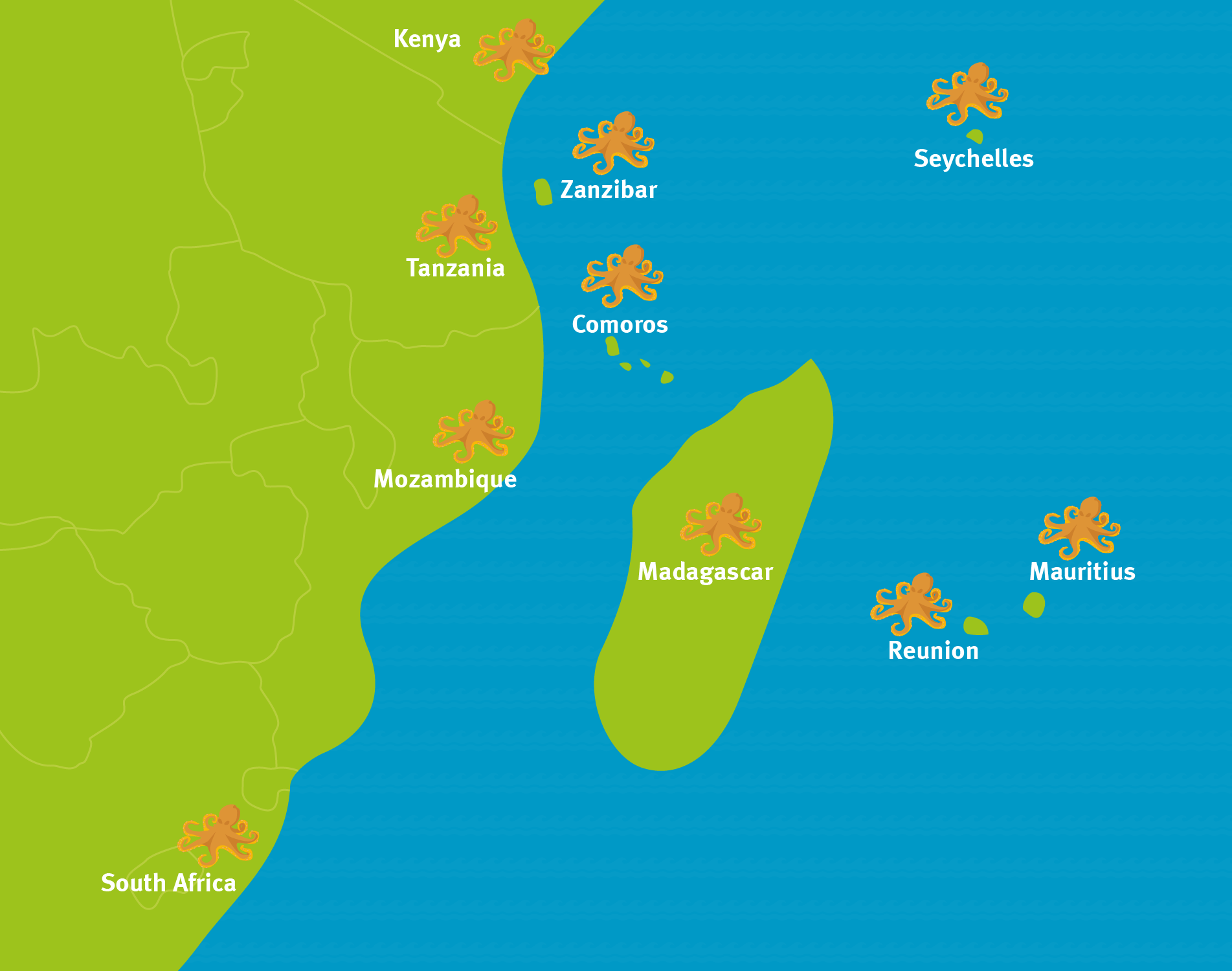 Map showing South Africa, Mozambique, Tanzania and Southwest Indian Ocean islands, with octopus icons.