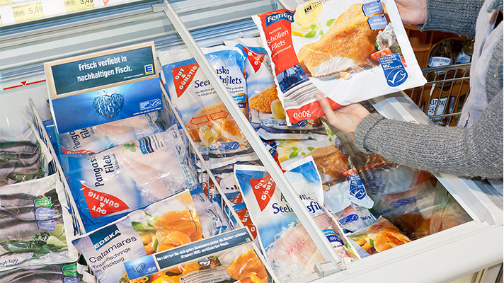 Person holding MSC certified product over freezer in German supermarket