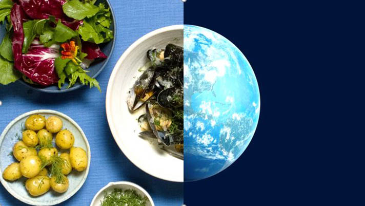 Bowls of mussels potatoes and salad split screen with image of earth