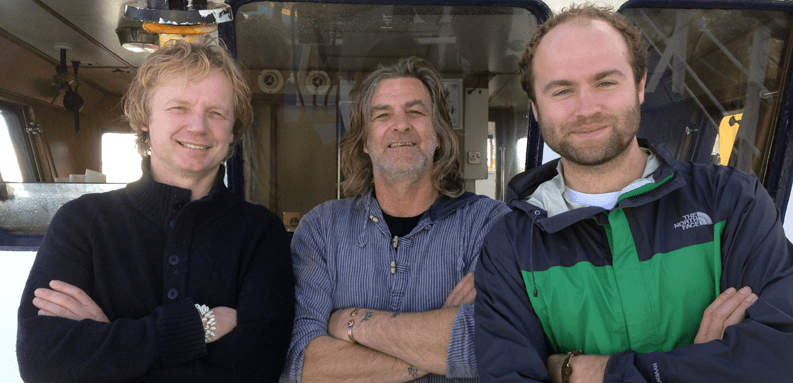 Bart van Olphen – Chef and sustainable seafood advocate, Alan Dwan – skipper of the Ajax from the MSC certified Cornish hake gill net fishery, and George Clark – MSC UK commercial manager.