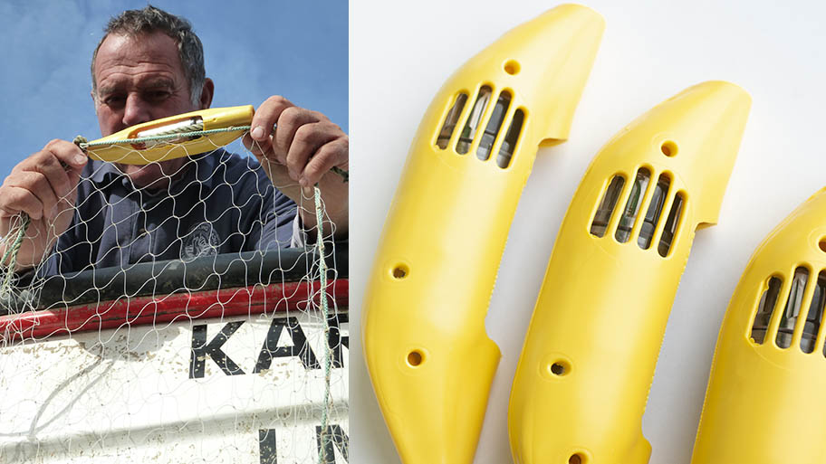 """Composite image with fisherman holding net and """"banana pinger"""" device on left and pingers on plain background on right"""