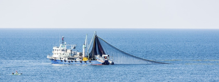 A fishing boat on the ocean.
