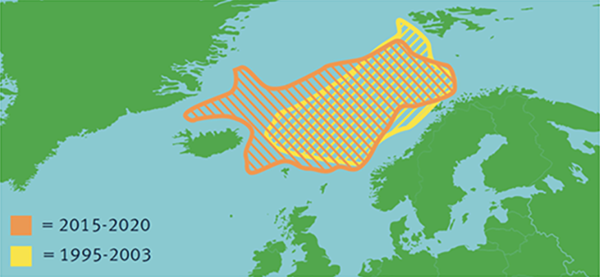 Map showing changes in distribution of Atlanto-Scandian herring between 1995 and 2020
