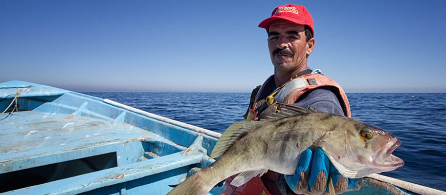 Fisherman in small boat on blue sea holding fish towards camera